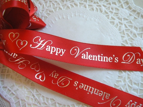 "Happy Valentine's Day Ribbon with Hearts - 7/8"" - click to enlarge"
