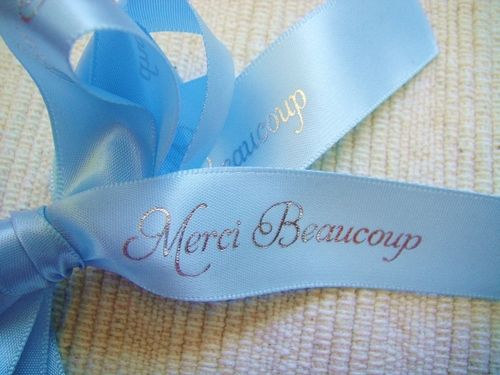 "Merci Beaucoup Ribbon 7/8"" - click to enlarge"