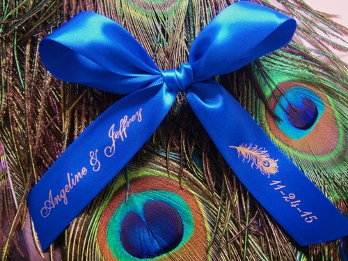 Peacock Personalized Favor Ribbons - click to enlarge