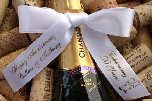 Personalized Anniversary Party Favor Ribbons - click to enlarge