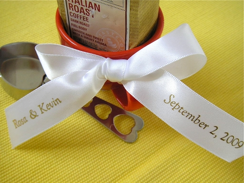 "Personalized Ribbon 7/8"" Satin for Favors - click to enlarge"