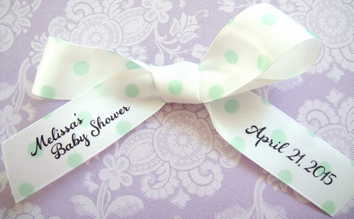 Polka Dot Personalized Favor Ribbon - click to enlarge