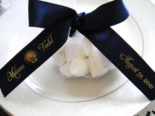 "Scallop Shell Favor Ribbon 5/8"" - click to enlarge"