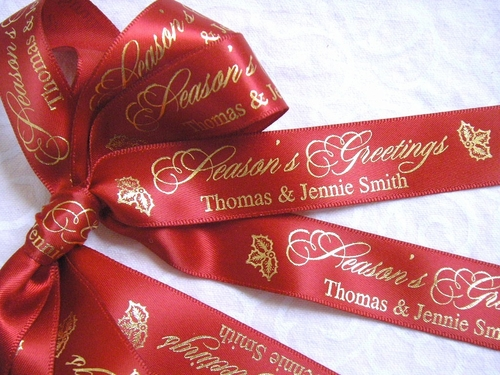 "Season's Greetings Custom Ribbon - 7/8"" - click to enlarge"