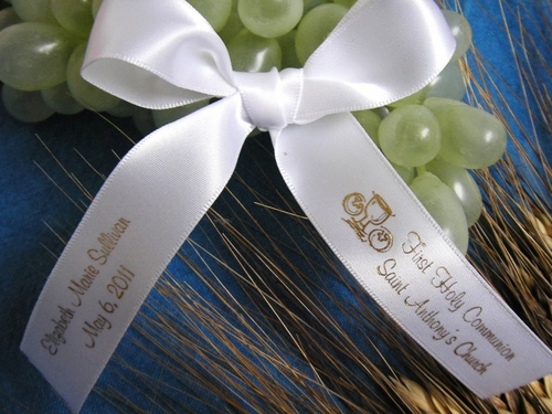 Two Line Personalized Communion Favor Ribbon - click to enlarge