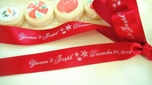 Winter Wedding Continuous Personalized Ribbon - click to enlarge