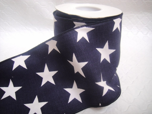 "Wired Navy Blue with White Stars Ribbon - 4"" - click to enlarge"