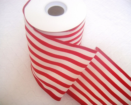 "Wired Red and White Stripe Ribbon - 4"" - click to enlarge"