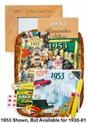 Retirement Gift Basket for Any Year Born or Year Job Started