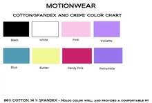 Motionwear Cotton/Spandex and Crepe Color Chart
