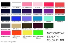 MotionWear Silkskyn Color Chart