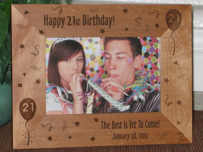 21st Birthday Picture Frame - Personalized Frame - Laser Engraved 21st Birthday Theme