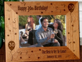 30th Birthday Picture Frame - Personalized Frame - Laser Engraved 30th Birthday Theme