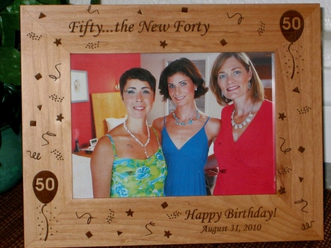 50th Birthday Picture Frame - Personalized Frame - Laser Engraved 50th Birthday Theme