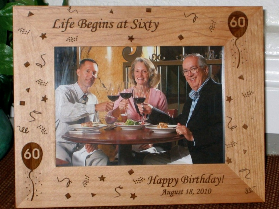 60th birthday picture frame personalized frame laser engraved 60th birthday theme