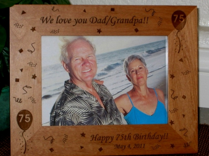 75th Birthday Picture Frame - Personalized Frame - Laser Engraved 75th Birthday Theme