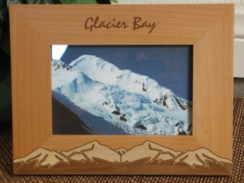Alaska Picture Frame - Personalized Frame - Laser Engraved Snow Capped Mountains