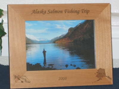 Alaska Salmon Fishing Picture Frame - Personalized Frame - Laser Engraved Salmon and Alaska
