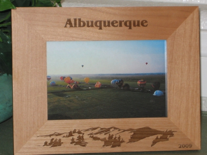 Albuquerque Picture Frame - Personalized Frame - Laser Engraved Mountains