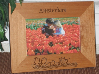 Amsterdam Picture Frame - Personalized Frame - Laser Engraved Tulips & Castle Theme