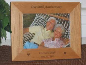 Anniversary Picture Frame - Personalized Frame - Laser Engraved Wedding Anniversay Hearts - 20th/30th/40th/50th/60th