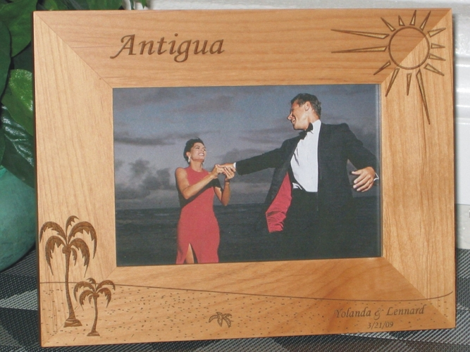 Antigua Picture Frame - Personalized Frame - Laser Engraved Beach Theme with Palms