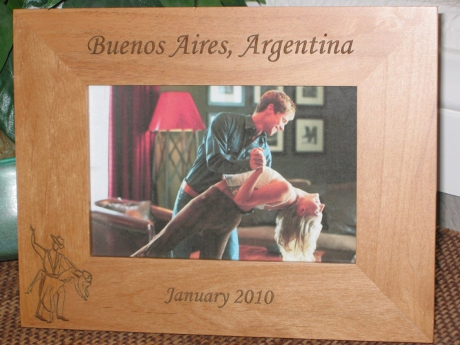 Argentina Picture Frame - Personalized Frame - Laser Engraved Tango Dancers