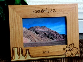 Arizona Mountain Picture Frame - Personalized Frame - Laser Engraved Mountains & Cactus Theme