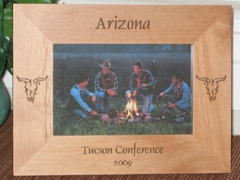 Arizona Skull Picture Frame - Personalized Frame - Laser Engraved Cow Skull