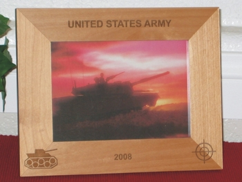 Army Tank Picture Frame - Personalized Military Frame - Laser Engraved Army Tank