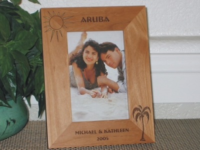 Aruba Picture Frame - Personalized Frame - Laser Engraved Palm Tree & Sun