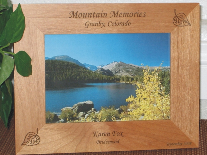 Aspen Leaf Picture Frame - Personalized Frame - Laser Engraved Colorado Aspen Leafs