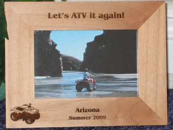 ATV Picture Frame - Personalized Frame - Laser Engraved Four Wheeler