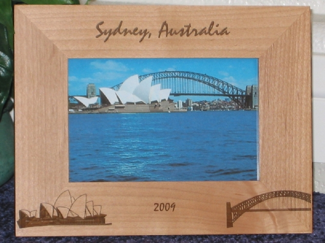 Australia Theme Picture Frame - Personalized Frame - Laser Engraved Sydney Opera House - Bridge