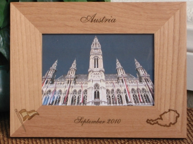 Austria Picture Frame - Personalized Frame - Laser Engraved Austria & Flag