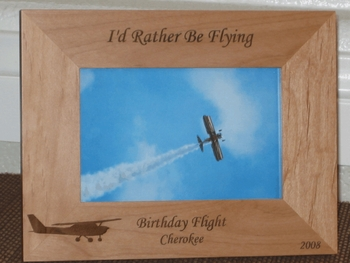 Aviator Picture Frame - Personalized Frame - Laser Engraved Airplane