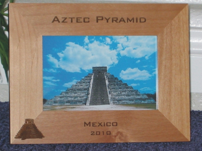Aztec Pyramids Picture Frame - Personalized Frame - Laser Engraved Pyramids