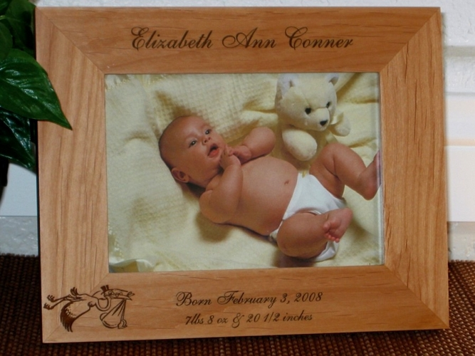 Baby Announcement Picture Frame - Personalized Frame - Laser Engraved Stork with Hat