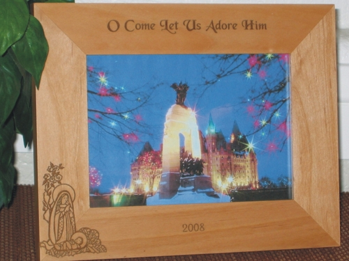 Baby Jesus Picture Frame - Personalized Frame - Laser Engraved Baby Jesus & Mary