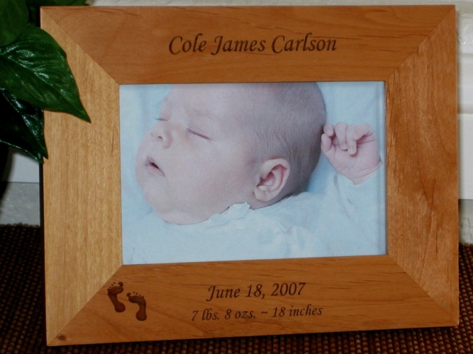 Baby Picture Frame - Personalized Frame - Laser Engraved Footprints
