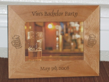 Bachelor Party Picture Frame - Personalized Frame - Laser Engraved Beer