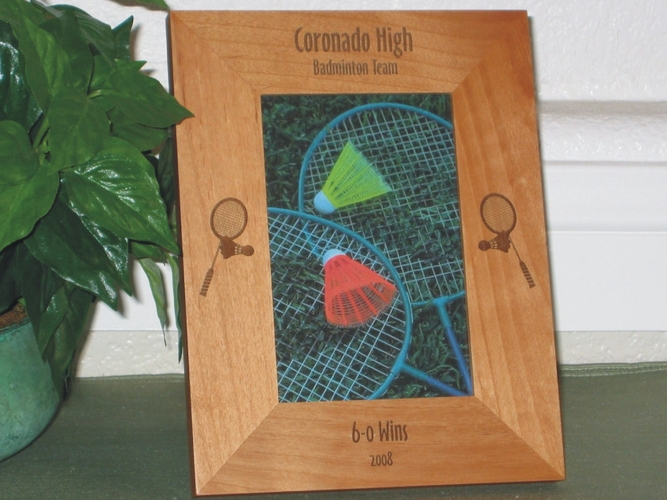 Badminton Picture Frame - Personalized Frame - Laser Engraved Badminton Racket and Birdie