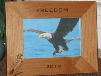 Bald Eagle Picture Frame - Personalized Frame - Laser Engraved Bald Eagle