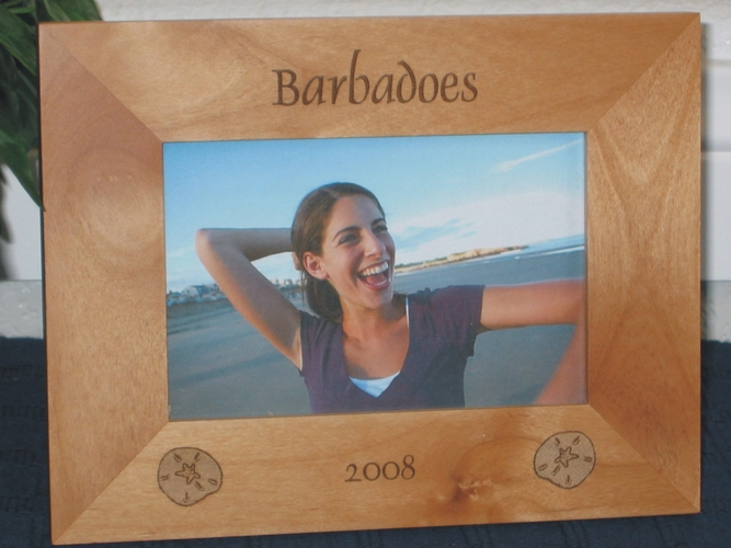 Barbadoes Picture Frame - Personalized Frame - Laser Engraved Sand Dollars