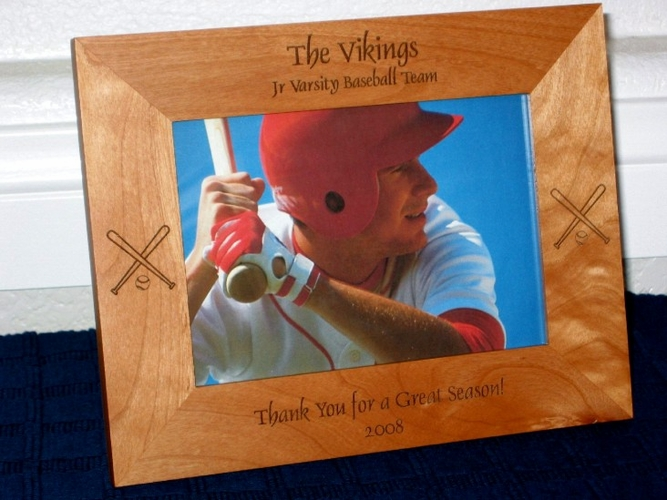 Baseball Bat & Ball Picture Frame - Personalized Frame - Laser Engraved Baseball Bats and Ball