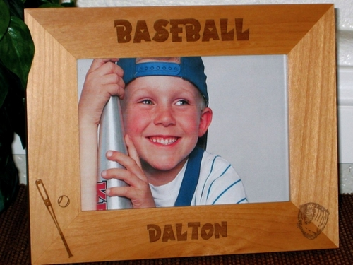 Baseball Picture Frame - Personalized Sports Frame - Laser Engraved Baseball Bat & Glove