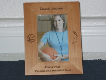 Basketball Coach Picture Frame - Personalized Gift Frame - Laser Engraved Basketball and Whistle