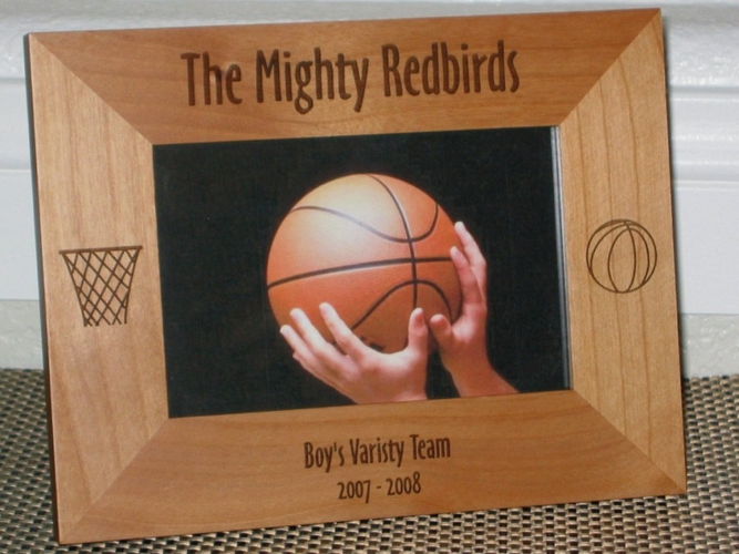 Basketball Hoop Picture Frame - Personalized Team Frame - Laser Engraved Basketball & Hoop on sides