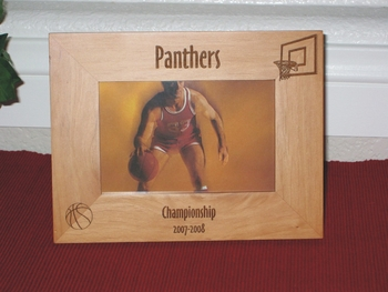 Basketball Picture Frame - Personalized Frame - Laser Engraved Basketball & Hoop