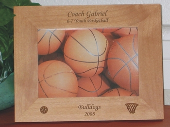 Basketball Picture Frame - Personalized Sports Frame - Laser Engraved Basketball Hoop